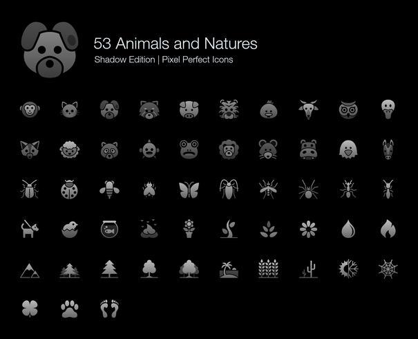 Tiere und Naturen Pixel Perfect Icons Shadow Edition. vektor