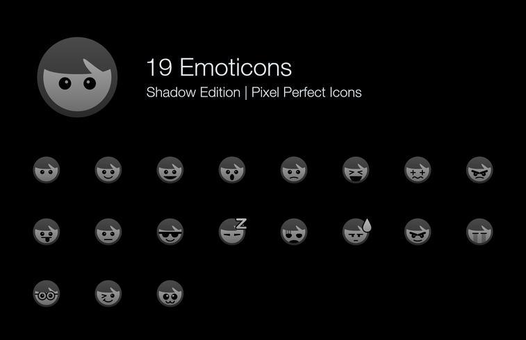 Emoticons Emoji Pixel Perfect Icons Schattenausgabe. vektor