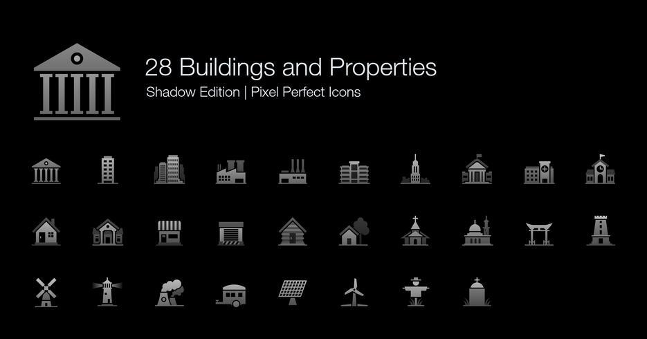 Gebäude und Eigenschaften Pixel Perfect Icons Shadow Edition. vektor