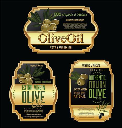 Olive retro etiketter samling vektor