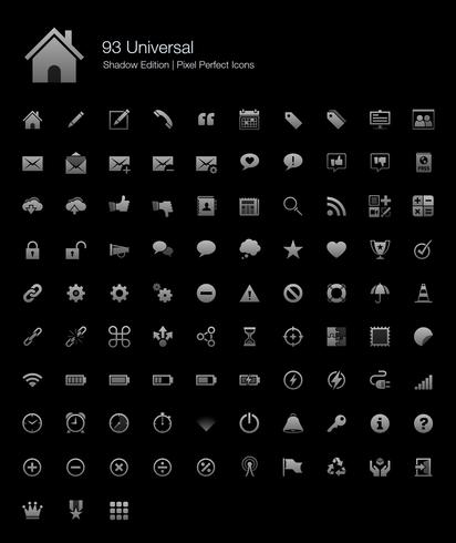 Universal Pixel Perfect Icons Shadow Edition. vektor