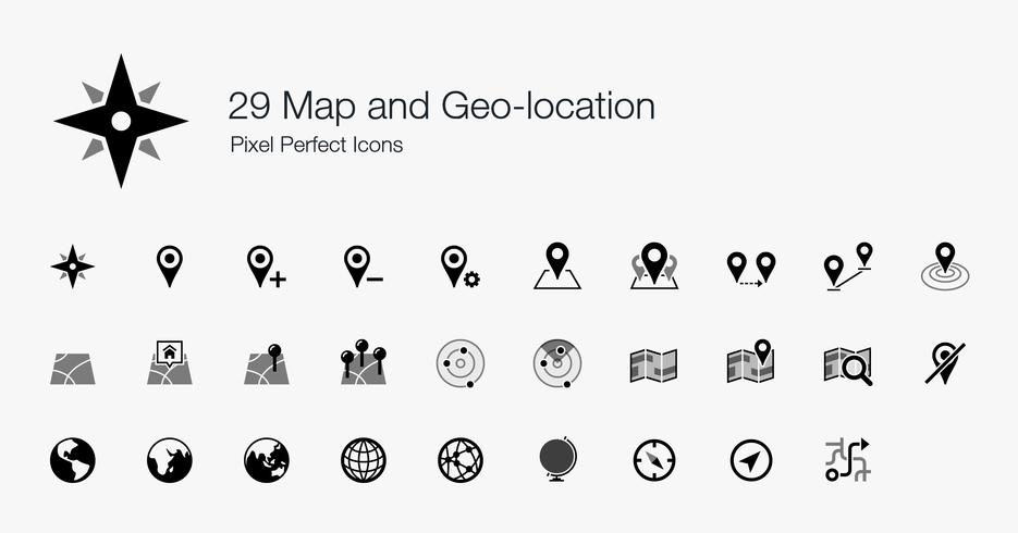 29 Karte und Geo-Position Pixel-Perfect-Icons. vektor