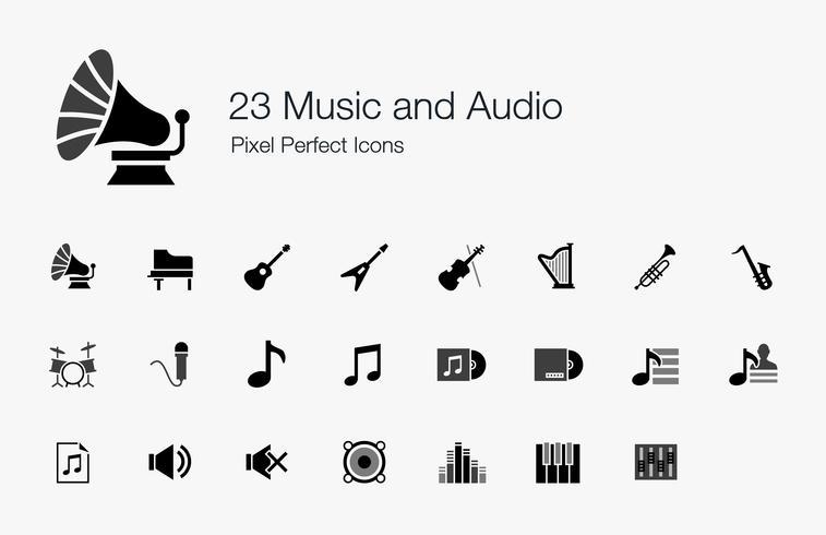 23 Musik och ljud Pixel Perfect Ikoner. vektor