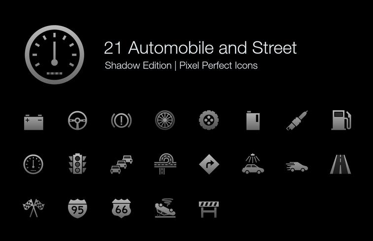 Automobil und Straße Pixel Perfect Icons Shadow Edition. vektor