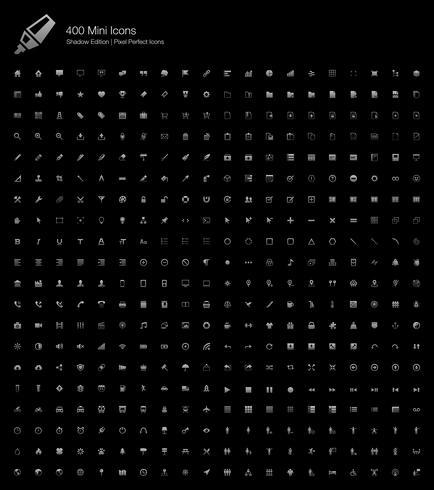 Mini Small Simple Web Pixel Perfekte Symbole Shadow Edition. vektor