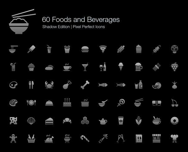 Nahrungsmittel und Getränke Pixel Perfect Icons Shadow Edition. vektor