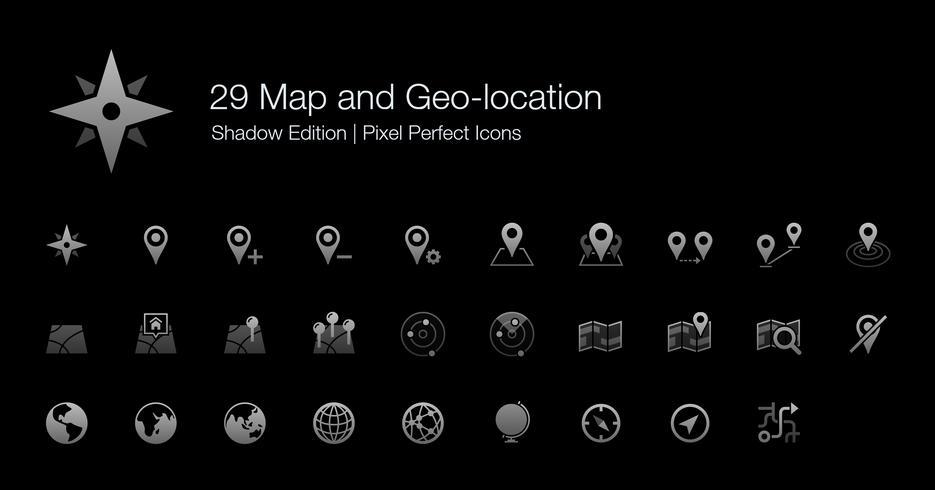 Kart och Geo-plats Pixel Perfect Ikoner Shadow Edition. vektor