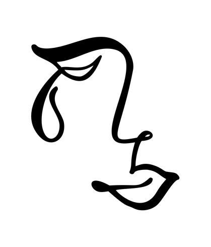 Vektor kontinuerlig linje, teckning av ledsen kvinna ansikte, mode minimalistiska koncept. Stiliserad linjär illustration kvinnlig huvud med slutna ögon och teardrop. Hudvårdslogotyp, skönhetssalongikon