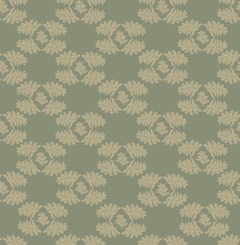 Blommigt sömlöst mönster. Leaf retro prydnad. Blommande lämnar bakgrund vektor
