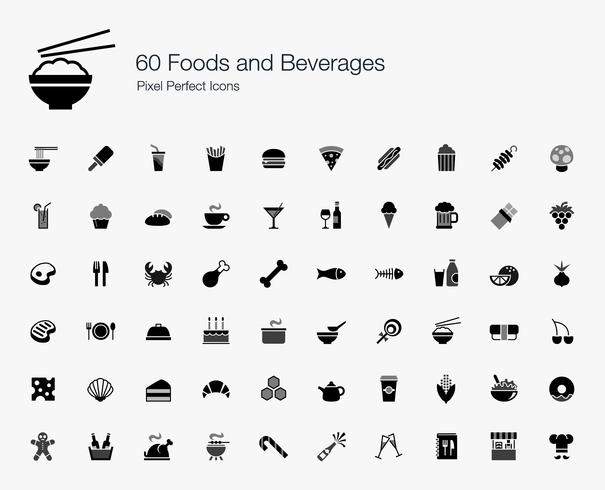 60 Foods and Beverages Pixel Perfect Ikoner. vektor