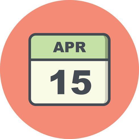 15. April Datum an einem Tageskalender vektor