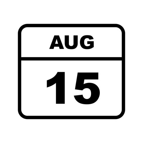 15. August Datum an einem Tageskalender vektor