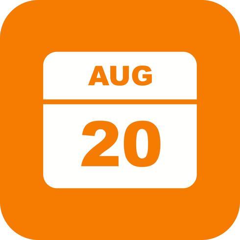 Datum des 20. August für einen Tageskalender vektor