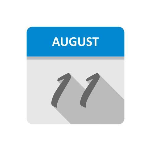 11 augusti Datum på en enkel dagskalender vektor