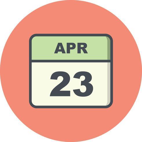 23 april Datum på en enkel dagskalender vektor
