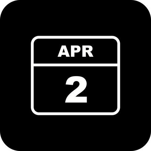 2 april Datum på en enkel dagskalender vektor