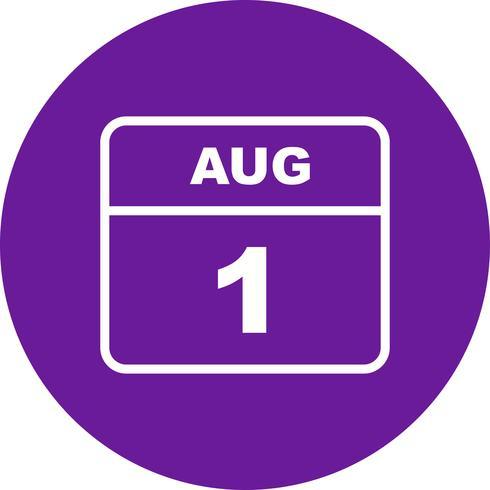 1. August Datum für einen Tageskalender vektor