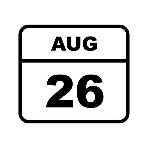 26 augusti Datum på en enkel dagskalender vektor
