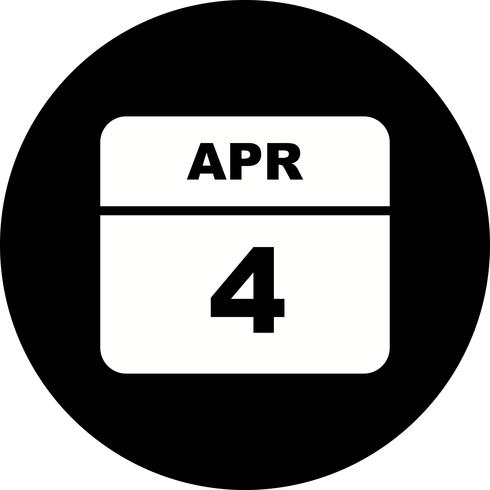 4 april Datum på en enda dagskalender vektor