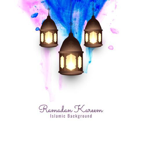Abstrakt Ramadan Kareem religiös akvarell bakgrund vektor