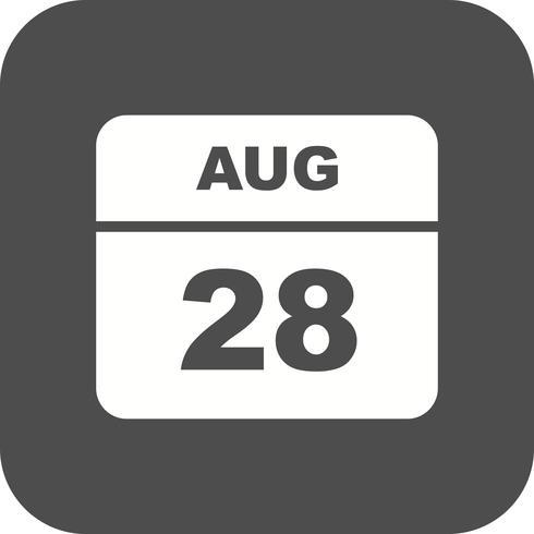 28. August Datum an einem Tagkalender vektor