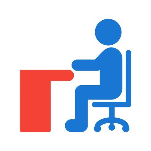 Sitter på Desk Icon Design vektor