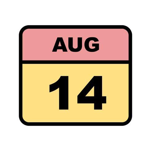 14 augusti Datum på en enkel dagskalender vektor