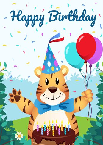 Grattis på födelsedagen Djur illustration vektor