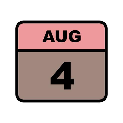 4 augusti Datum på en dagskalender vektor