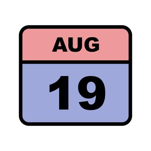 19 augusti Datum på en enkel dagskalender vektor