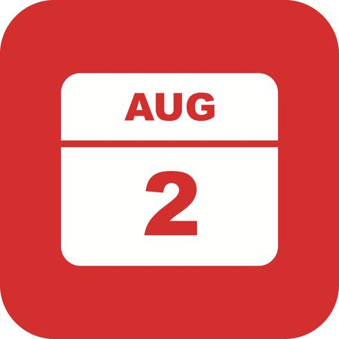 2 augusti Datum på en enkel dagskalender vektor