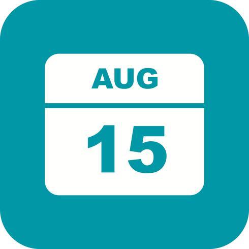 15 augusti Datum på en dagskalender vektor