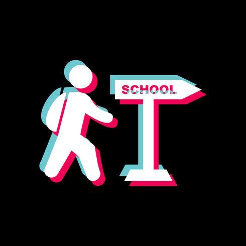 Gå till skolan Icon Design vektor