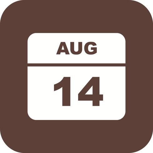 14. August Datum an einem Tagkalender vektor
