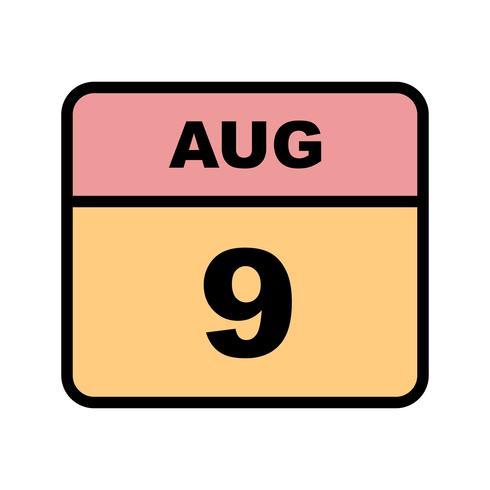 9 augusti Datum på en enkel dagskalender vektor