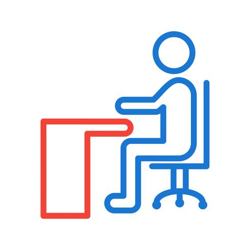 Sitter på Desk Icon Design vektor