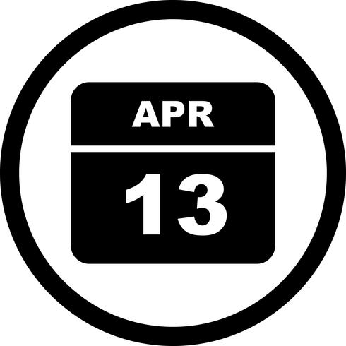 13. April Datum an einem Tageskalender vektor