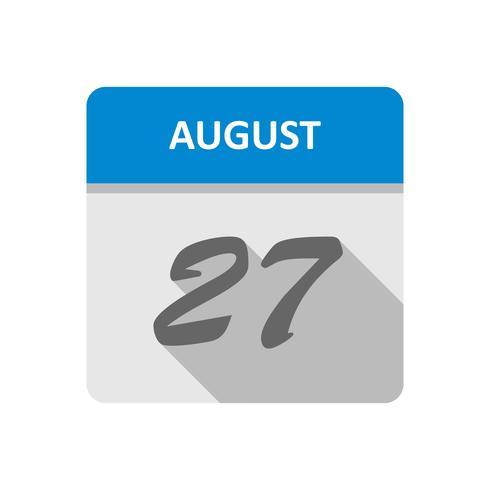 27 augusti Datum på en dagskalender vektor