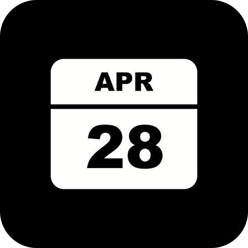 28. April Datum an einem Tageskalender vektor