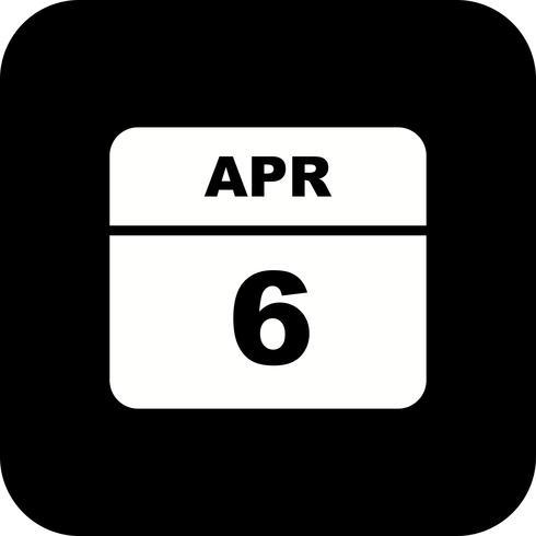 6 april Datum på en enkel dagskalender vektor