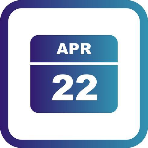 22 april Datum på en enkel dagskalender vektor
