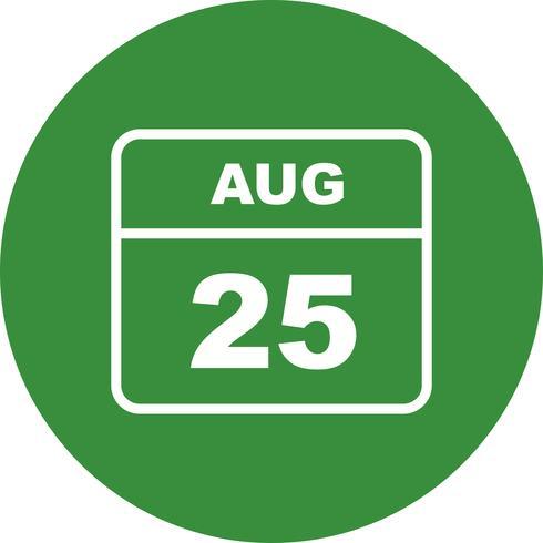25. August Datum an einem Tageskalender vektor