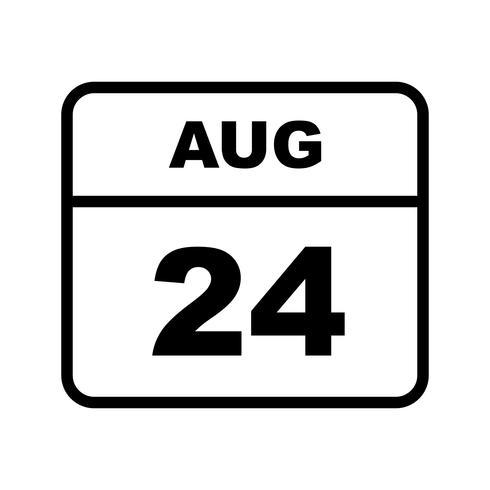 24. August Datum an einem Tagkalender vektor