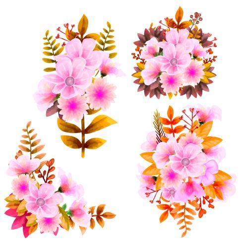 Blumenstraußaquarell, Blumen-Vektorsatz. Bunte Blumensammlung mit Blättern und Blumen, zeichnendes Aquarell. vektor