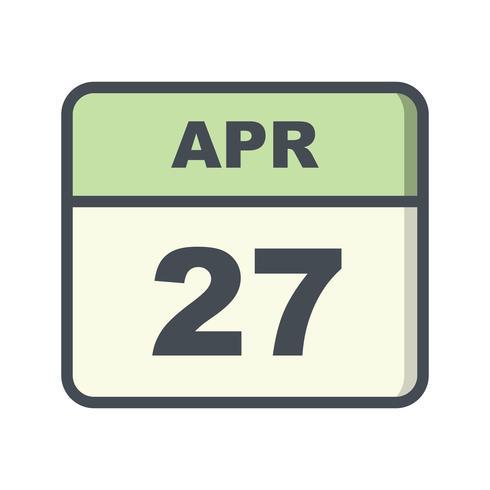 27 april Datum på en enkel dagskalender vektor