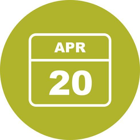 20 april Datum på en enkel dagskalender vektor