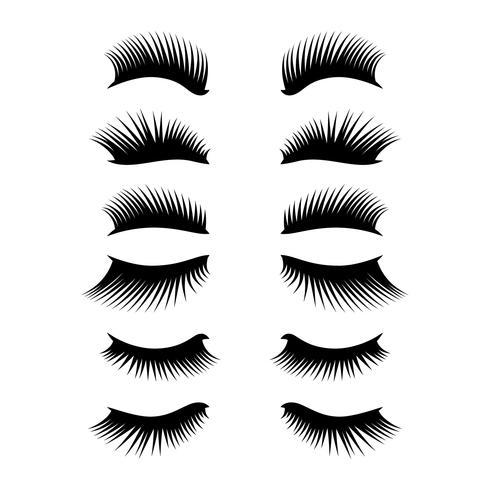 ögonfransar clipart set vektor