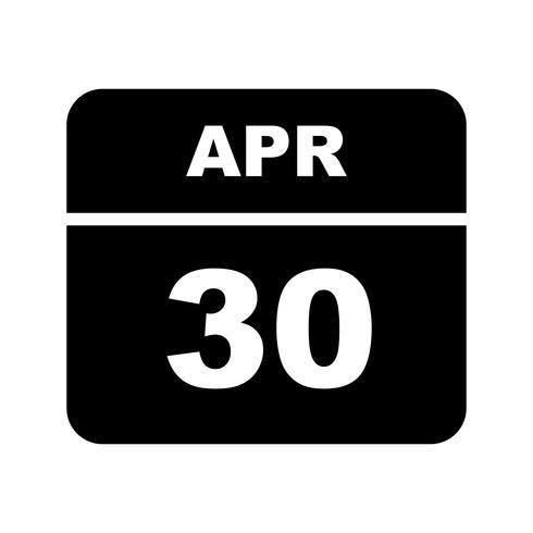 30. April Datum an einem Tageskalender vektor