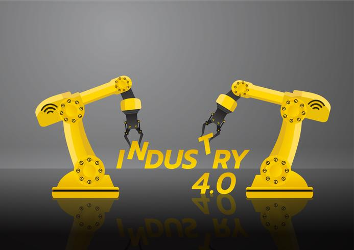 Industri 4.0 koncept. Maskinrobot armhandverksfabrik med cloud computing och ökad automation. Vektor illustration