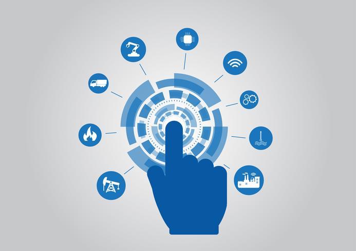 Bransch 4.0 konceptbild. industriella instrument i fabriken, internet av saker nätverk vektor